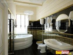 Golden and black design tiles in a large bathroom