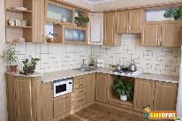 Natural wood cabinets add charm to your kitchen