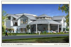 Commercial building exterior elevation design in 3D