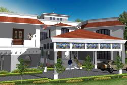 Coastal style exterior elevation design for villa