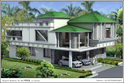 Slanted roof exterior elevation design for coastal areas