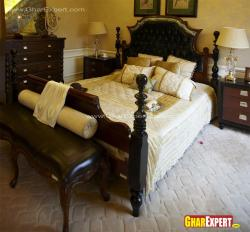 Leather upholstered traditional wooden bed
