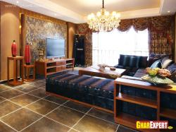 Living room interior with sectional sofa and LCD unit
