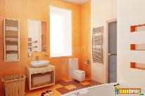 Bathroom with light reflecting effect