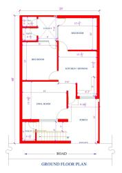 25 by 40 feet 2bk house plan