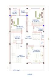 2bhk House plan 26x48 feet 1248 square feet