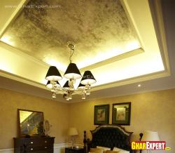 Suspended ceiling design with cozy lighting in bedroom