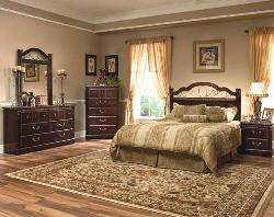 Wood and metal brown bed