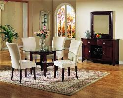 College dining room with glass table