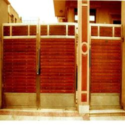 stainless steel door with horizontal strips additional  security door