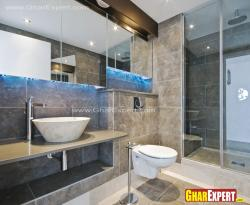 modern bathroom with big size wall tiles in brown