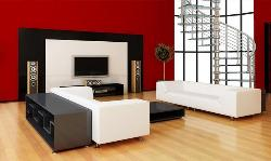 Living Room with White Color Furniture