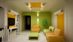 Modern Living Room in Green Color