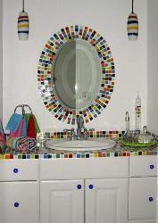 Bathroom Mirror Decorated with Mosaic