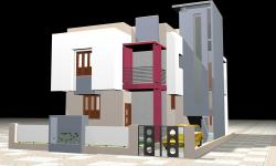 3D view of residential building of 2 story