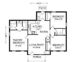 3BHK floor plan with rear and front porch
