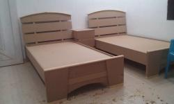 Single bed in wood