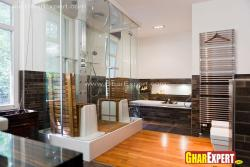 fully equipped and furnished bathroom in modern decor