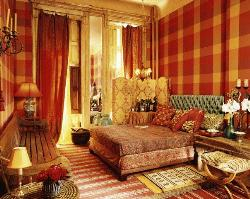 curtains for bedroom with yellow and red shades