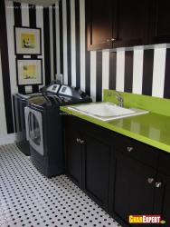 Laundry room walls painted in strips