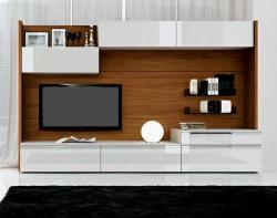 LCD wall unit made of wood in cherry color