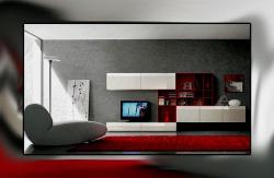 modern LCd wall unit in red & white
