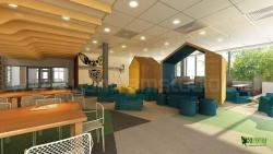 3D Interior Cafeteria Design