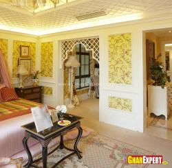 beautiful wall papers and arch design for bedroom