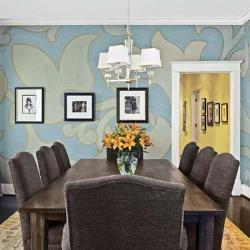 large white flower pattern over blue base paint in dining room