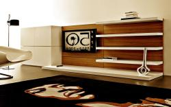 wall unit for tv with wooden base