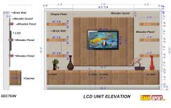 LCD Unit of 15 Feet length and 10 feet height  with Wooden Board and Hanging shelves and Base Cabinet