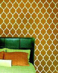 stencil wall painting pattern for bedroom