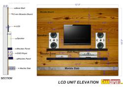 LCD Unit with Marble slab and Wooden Board in Background of 12 aFeet Wide and 10 Feet Depth