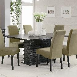 Puffed chairs and chocolate color dining table