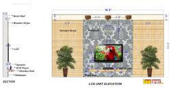 LCD unit of 18 Feet Wide and 10 Feet Depth with Textured wallpaper and Wooden Strip design