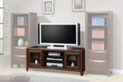 entertainment unit with glass door cabinets