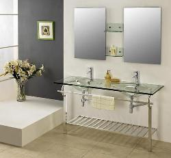 Double Sink Glass Countertop