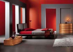 Modern bedroom interior in bold colors