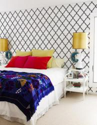 bedroom wall stencil paint design