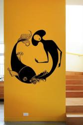wall painting stencil fish and girl design