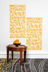 wall stencil flower pattern in orange
