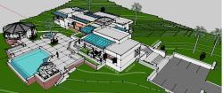 Top view of villa floor plan with pool and patio in 3d