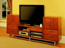 Small TV unit in cherry wood with storage drawers for bedoroom