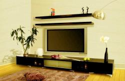 LCD unit with 2 shelves over the LCD with black finished wood