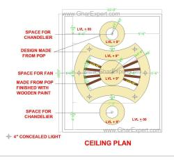 False ceiling in POP with wooden planks effect