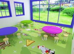 PVC flooring for room in play school 3d design