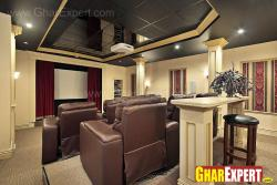 ceiling design of big space home theater area