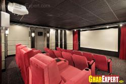 home theater with red comfort seats