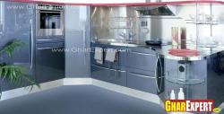 kitchen in modern look with silver blue tone