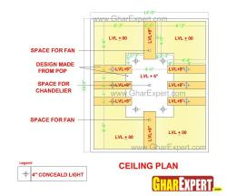False ceiling design in POP with concealed lighting